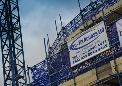 scaffold and profix logo on hording