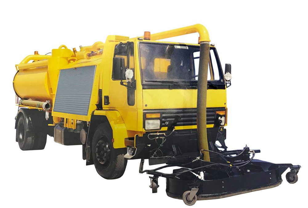 yellow runway rubber removal vehicle